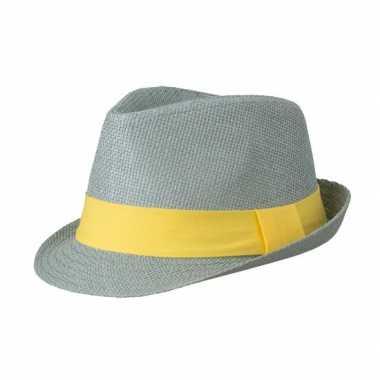 Lichtgrijs gevlochten hoedje met gele band