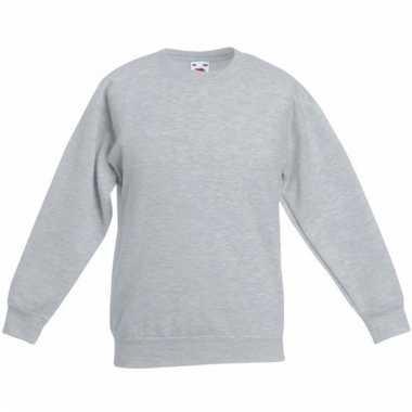 Lichtgrijs katoenen sweater zonder capuchon voor meisjes