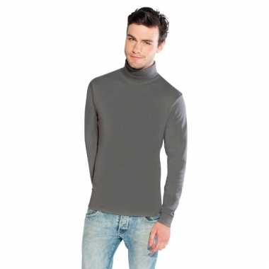 Lichtgrijs turtle-neck t-shirt voor heren