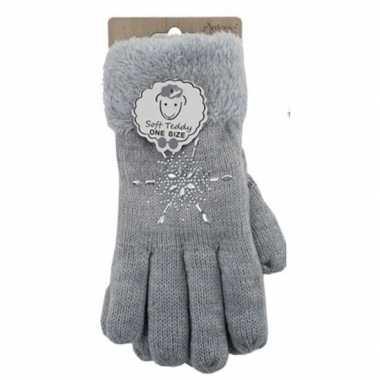 Lichtgrijze winterhandschoenen ster diamant voor dames