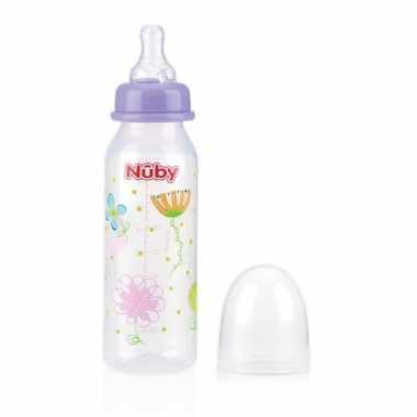 Lichtpaarse babyfles met bloemen 240 ml