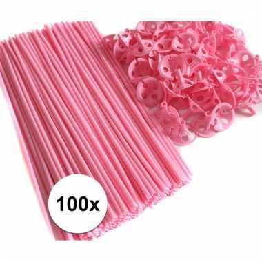 Lichtroze ballonstokjes 100 stuks