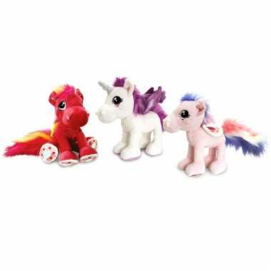Lichtroze paarden knuffel 30 cm