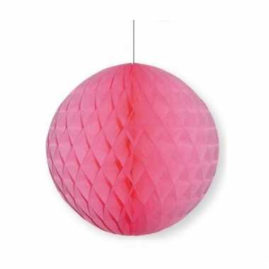 Lichtroze papieren kerstbal 10 cm