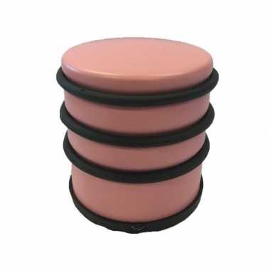 Lichtroze ronde deurstopper met rubberen bescherming 7 x 7.5 cm