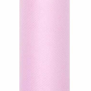 Lichtroze tule stoffen15 cm breed