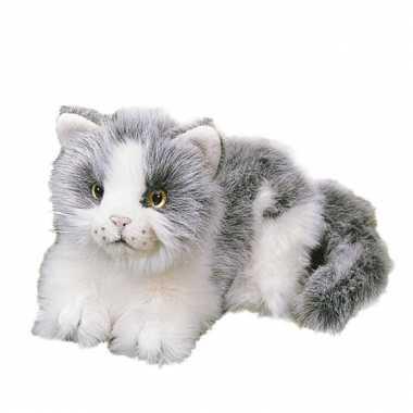 Liggende grijs witte kat van pluche 20 cm