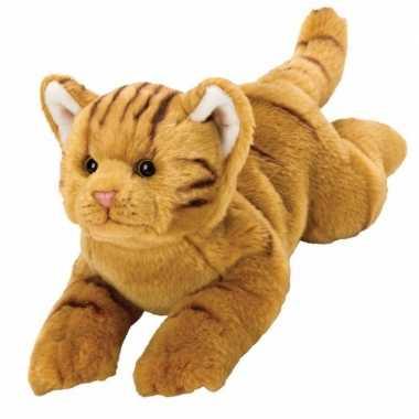 Liggende rode katten/poezen knuffelbeestje 32 cm