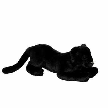 Liggende zwarte panter van pluche 25 cm