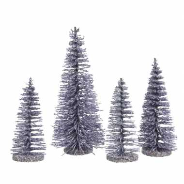 Lila mini paarse decoratie kerstboompjes 4 stuks