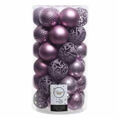 Lila paarse kerstballen set 6 cm 36 stuks