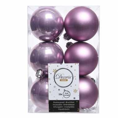 Lila paarse kerstballen van kunststof 6 cm