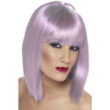 Lila paarse korte damespruik