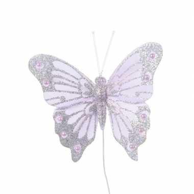 Lila paarse vlinder op steker 8 cm
