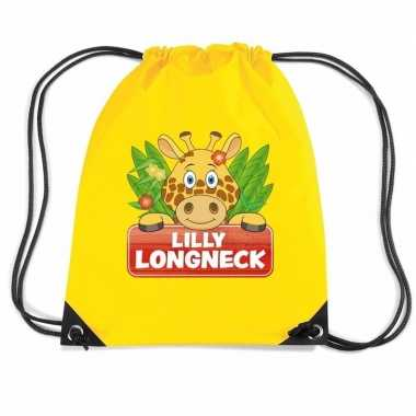 Lilly longneck de giraffe trekkoord rugzak / gymtas geel voor kindere