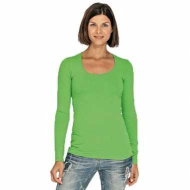 Lime dames shirt met ronde hals en lange mouwen