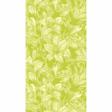 Lime firenze tafelkleden/tafellakens 138 x 220 cm papier/textiel
