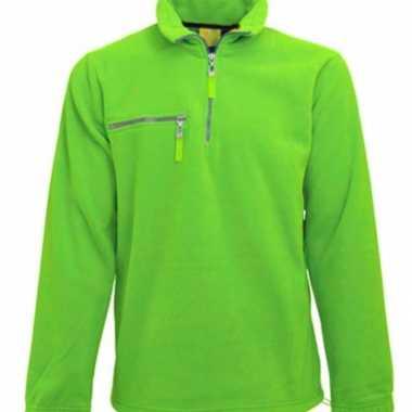 Lime fleece trui met ritskraag voor volwassenen