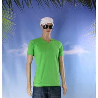 Lime gekleurd v-hals shirt voor heren