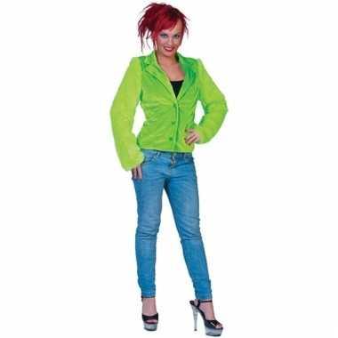Lime groen bontjasje voor dames