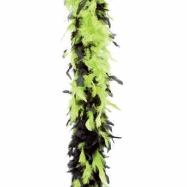 Lime groen met zwarte veren boa 180 cm