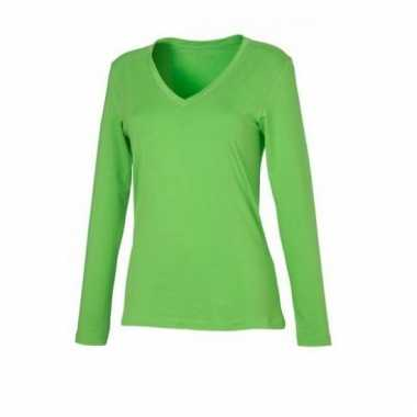 Lime groene dames stretch shirts lange mouw