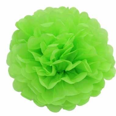 Lime groene decoratie pompoms 35 cm