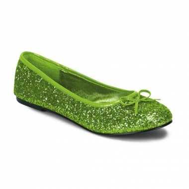 Lime groene flatjes met glitters
