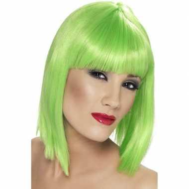 Lime groene korte damespruik