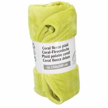 Lime groene warme fleece deken 150 x 200 cm