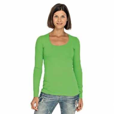 Limegroene longsleeve shirt met ronde hals voor dames
