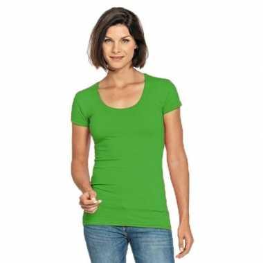 Limegroene shirt met ronde hals voor dames