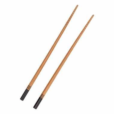 Luxe bamboe houten eetstokjes zwart 2 stuks