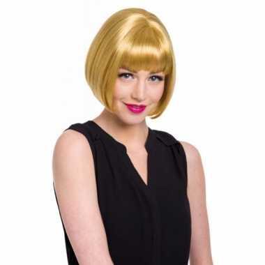 Luxe damespruik met kort blond haar