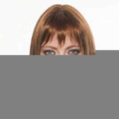 Luxe damespruik met kort bruin haar