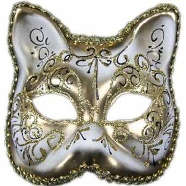 Luxe dierenmasker kat/poes wit/goud voor volwassenen