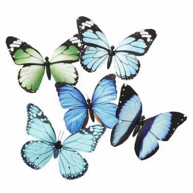 Magneet vlinder blauw/groen 13.5 cm
