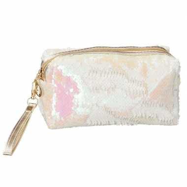 Makeup tasje met witte pailletten 18 cm
