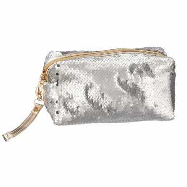 Makeup tasje met zilveren pailletten 18 cm