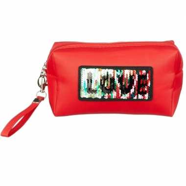 Makeuptasje love rood 10 cm