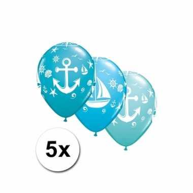 Maritiem thema ballonnen 5x