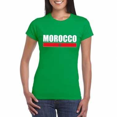 Marokkaanse supporter t-shirt groen voor dames