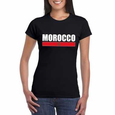Marokkaanse supporter t-shirt zwart voor dames