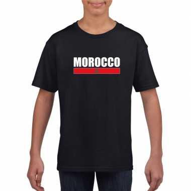 Marokkaanse supporter t-shirt zwart voor kinderen