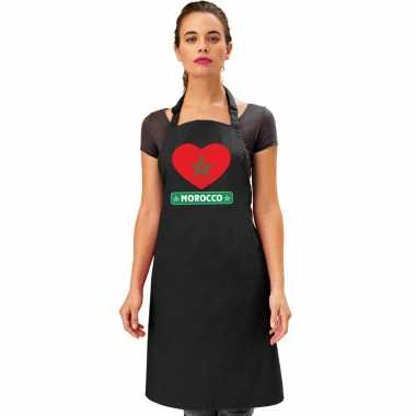 Marokkaanse vlag in hart keukenschort/ barbecueschort zwart heren en