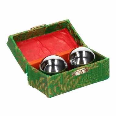 Massagekogels 3,5 cm in kistje zilver