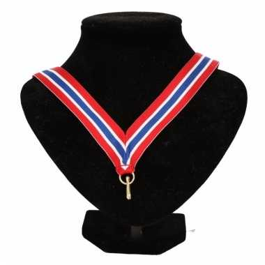 Medaille lint rood/wit/blauw