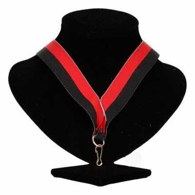 Medaille lint zwart/rood