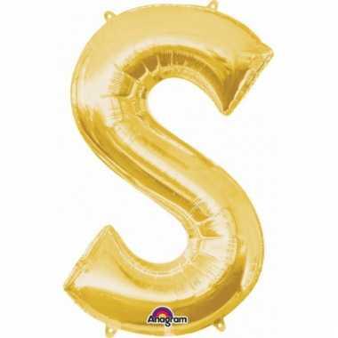 Mega grote gouden ballon letter s