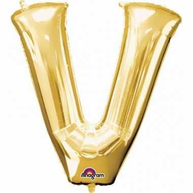 Mega grote gouden ballon letter v